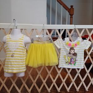 4t Girls Disney belle outfit and top